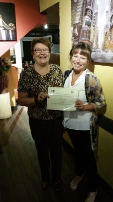 Langley President Deanna Evertt honours Charter Member, Barbara Hall for 25 years of service in BPW Canada.